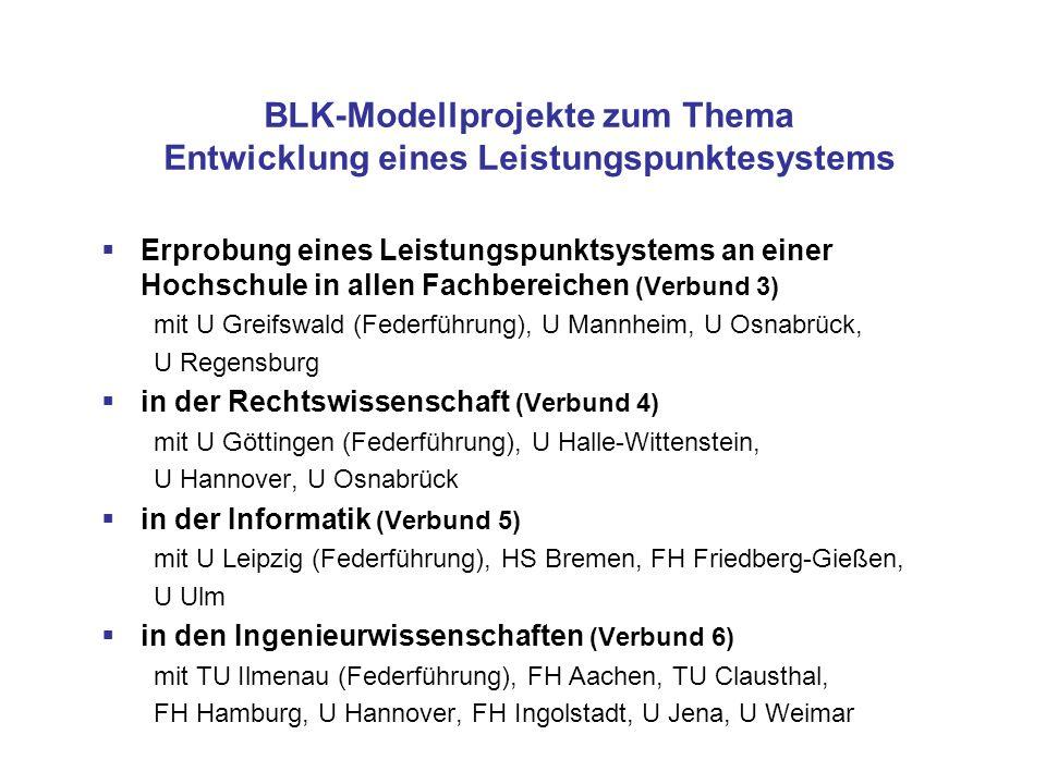 BLK-Modellprojekte zum Thema Entwicklung eines Leistungspunktesystems