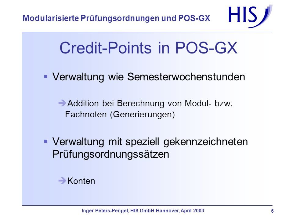 Credit-Points in POS-GX