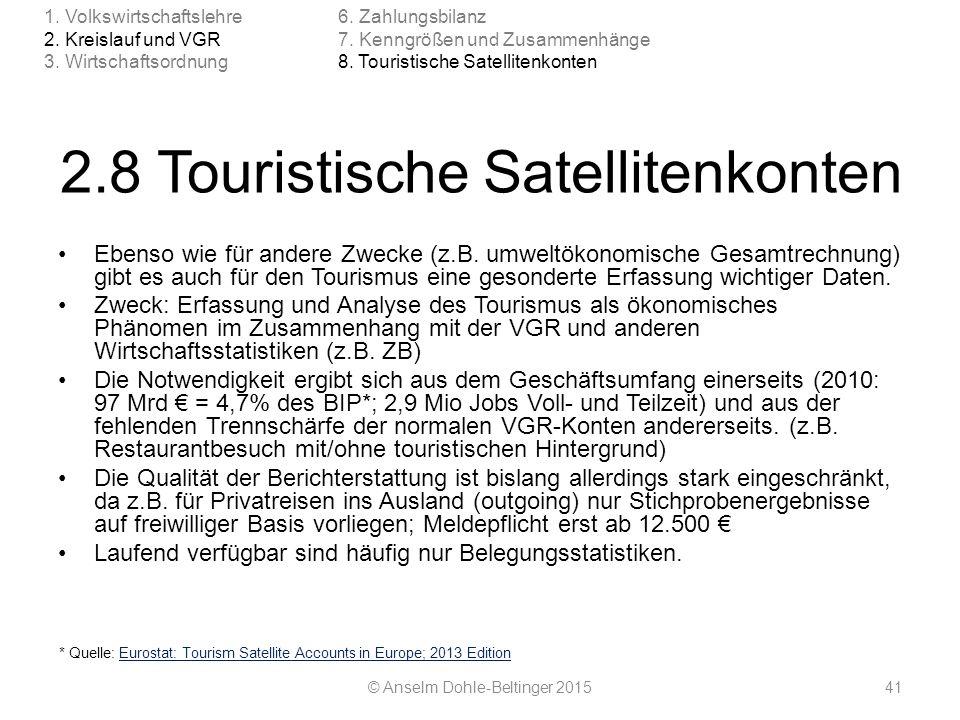 2.8 Touristische Satellitenkonten
