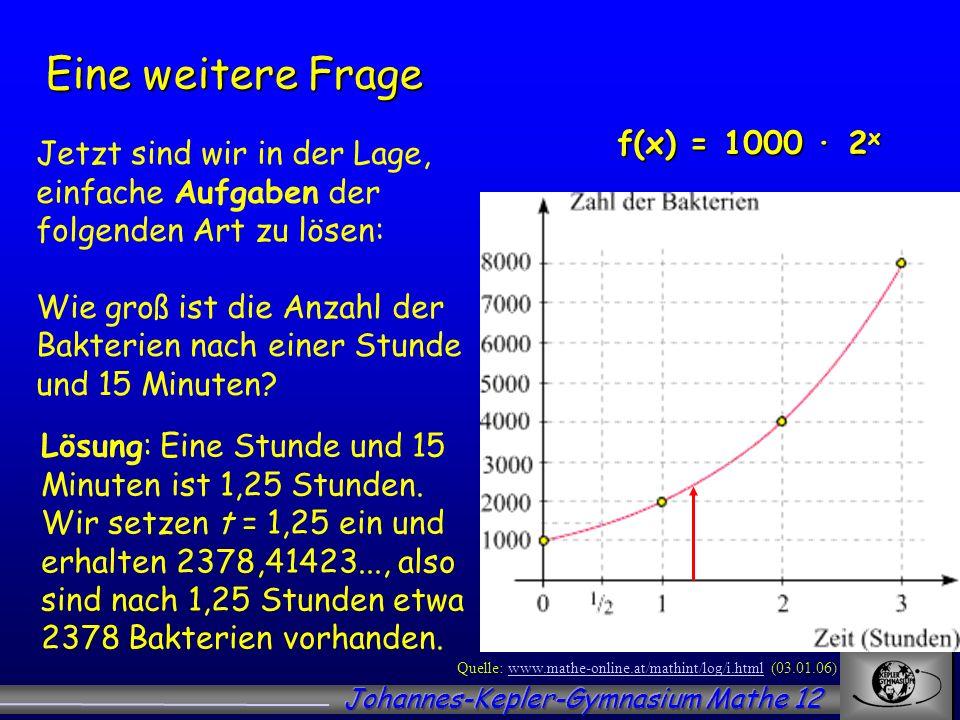 Eine weitere Frage f(x) = 1000 ∙ 2x