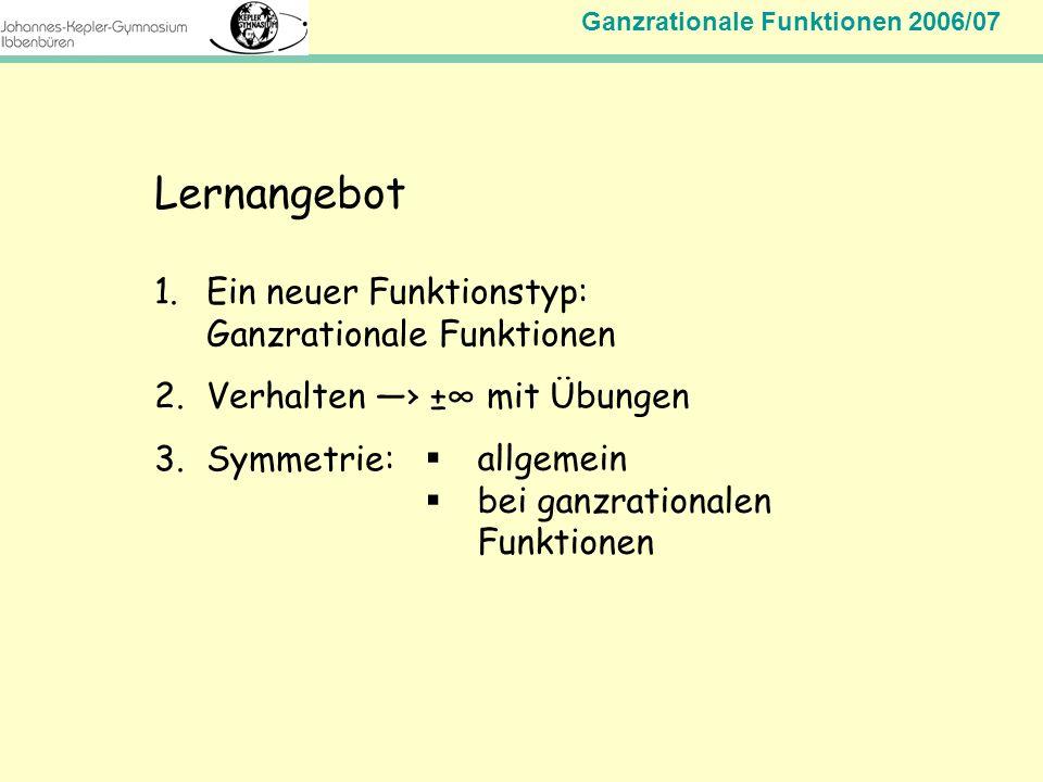 Lernangebot Ein neuer Funktionstyp: Ganzrationale Funktionen
