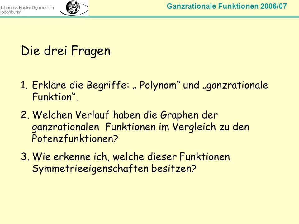 """Die drei Fragen Erkläre die Begriffe: """" Polynom und """"ganzrationale Funktion ."""