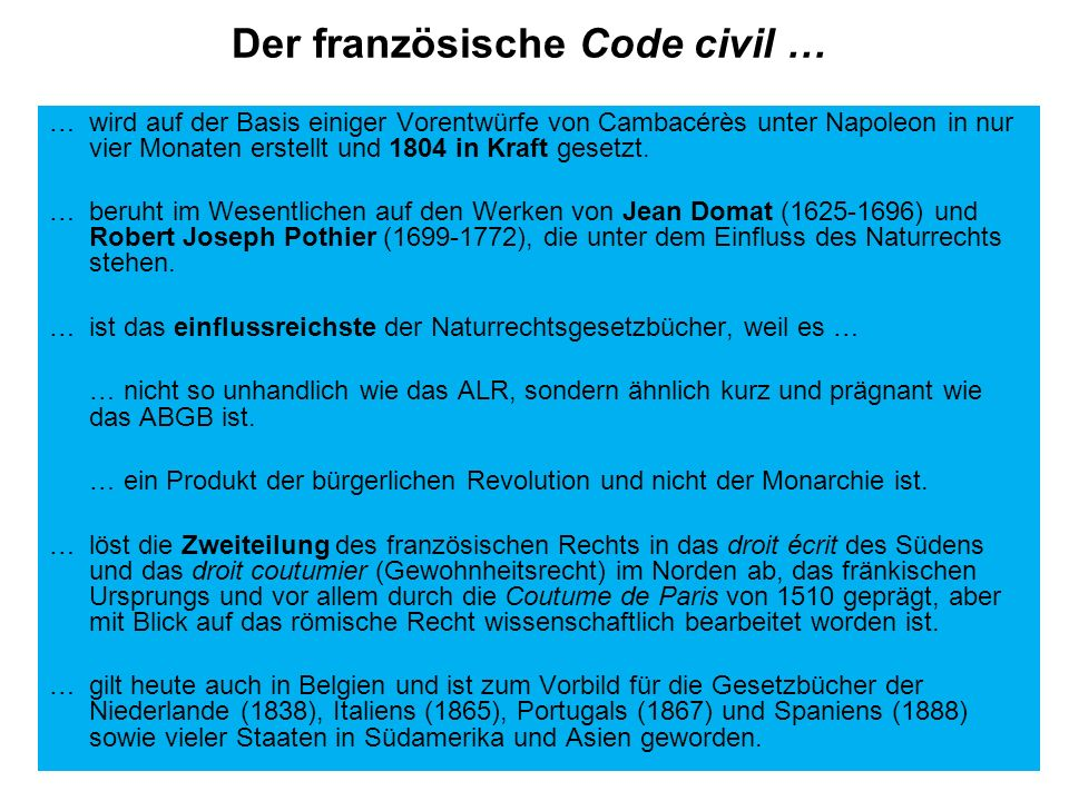 Der französische Code civil …
