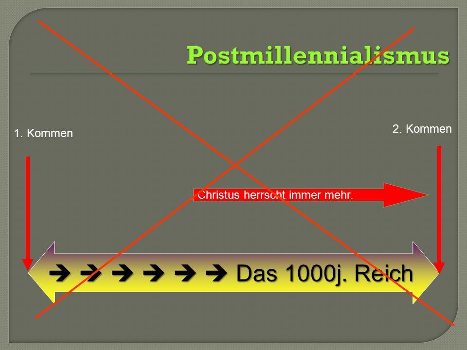 Postmillennialismus       Das 1000j. Reich 2. Kommen 1. Kommen
