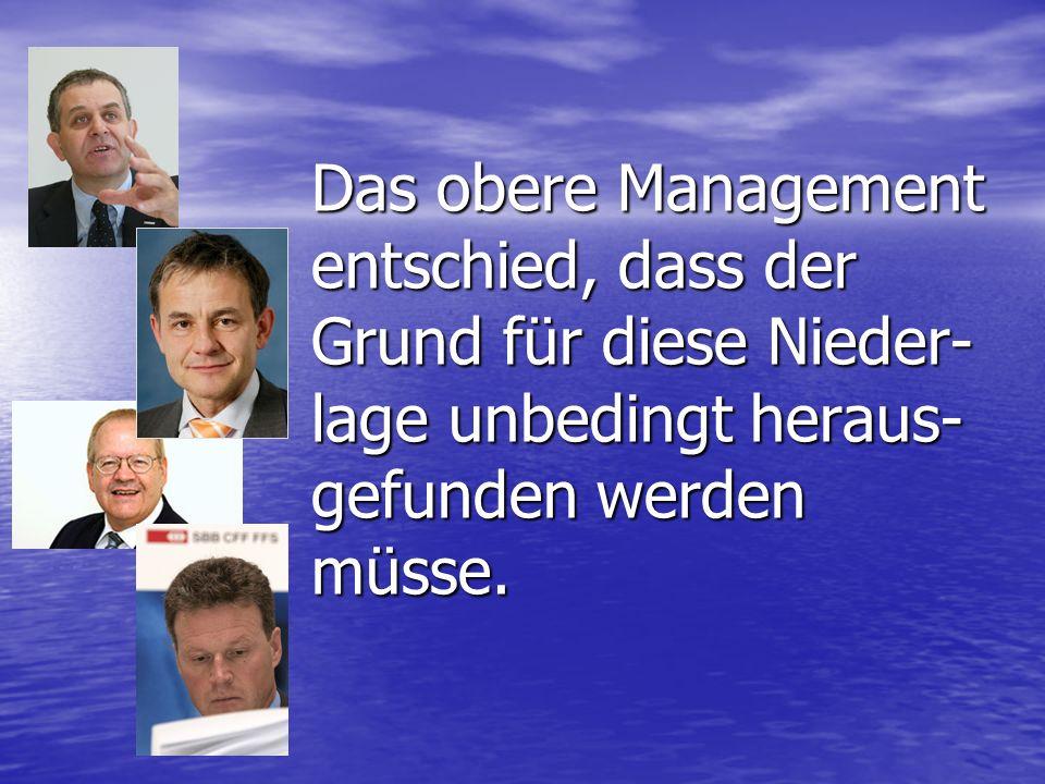 Das obere Management entschied, dass der Grund für diese Nieder-lage unbedingt heraus-gefunden werden müsse.