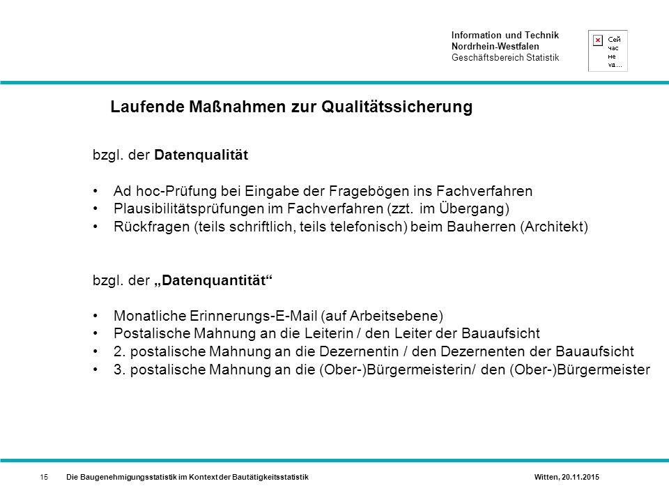 Laufende Maßnahmen zur Qualitätssicherung