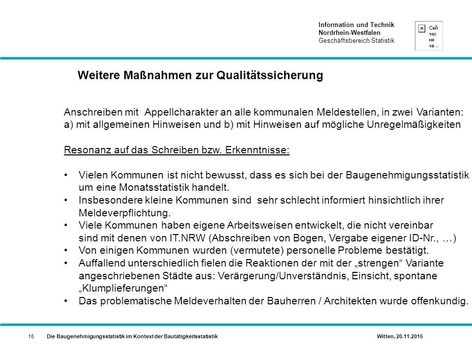 Weitere Maßnahmen zur Qualitätssicherung