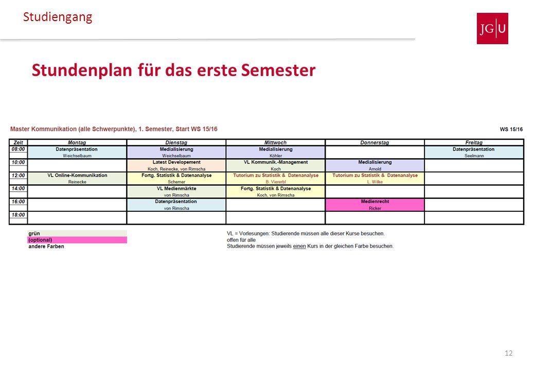Stundenplan für das erste Semester