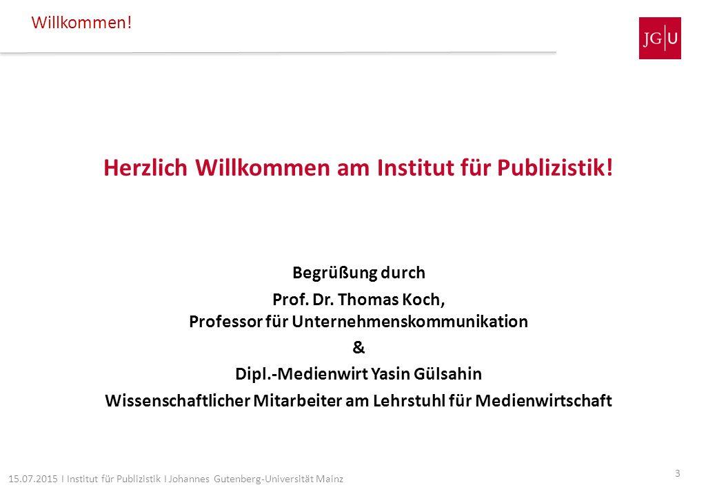 Herzlich Willkommen am Institut für Publizistik!