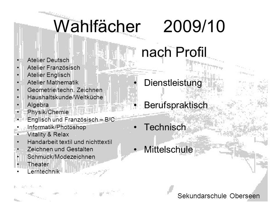 Wahlfächer 2009/10 nach Profil Dienstleistung Berufspraktisch