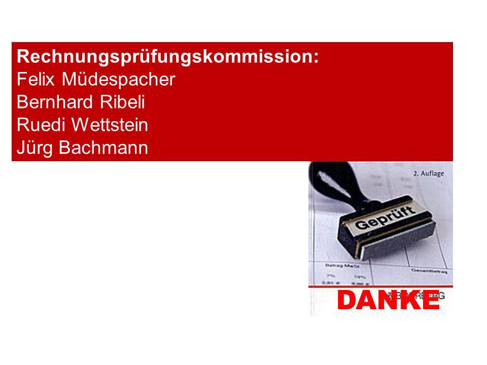 DANKE Rechnungsprüfungskommission: Felix Müdespacher Bernhard Ribeli