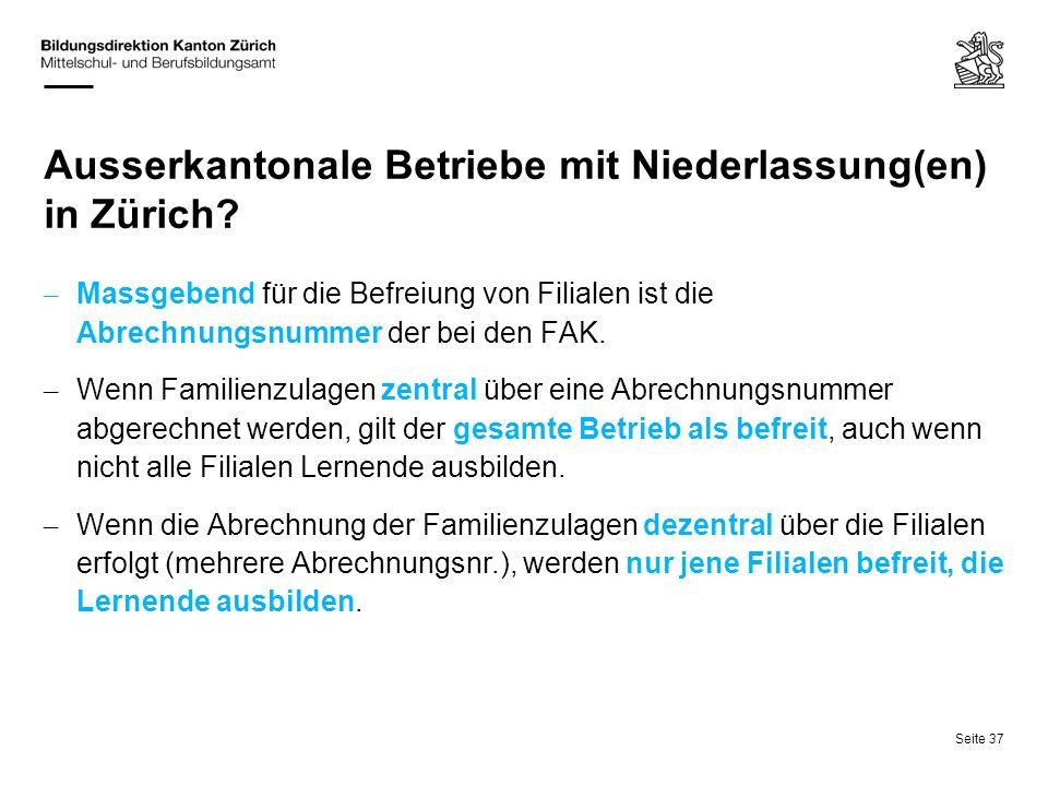 Ausserkantonale Betriebe mit Niederlassung(en) in Zürich