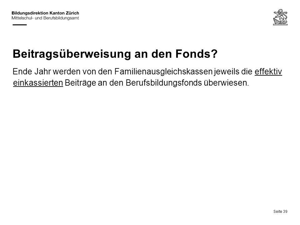 Beitragsüberweisung an den Fonds