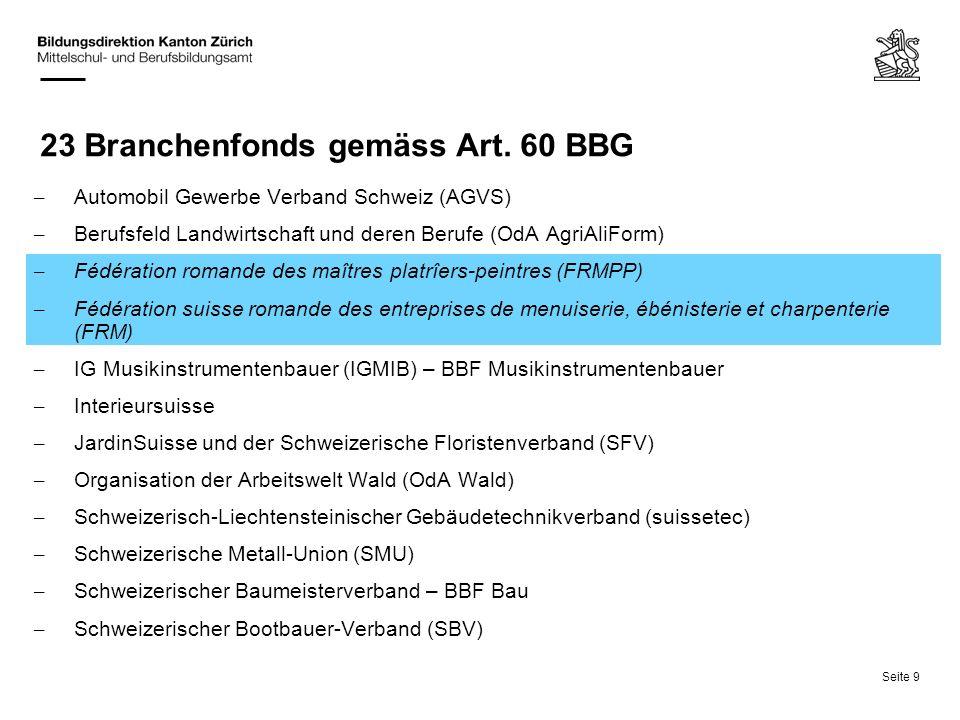 23 Branchenfonds gemäss Art. 60 BBG