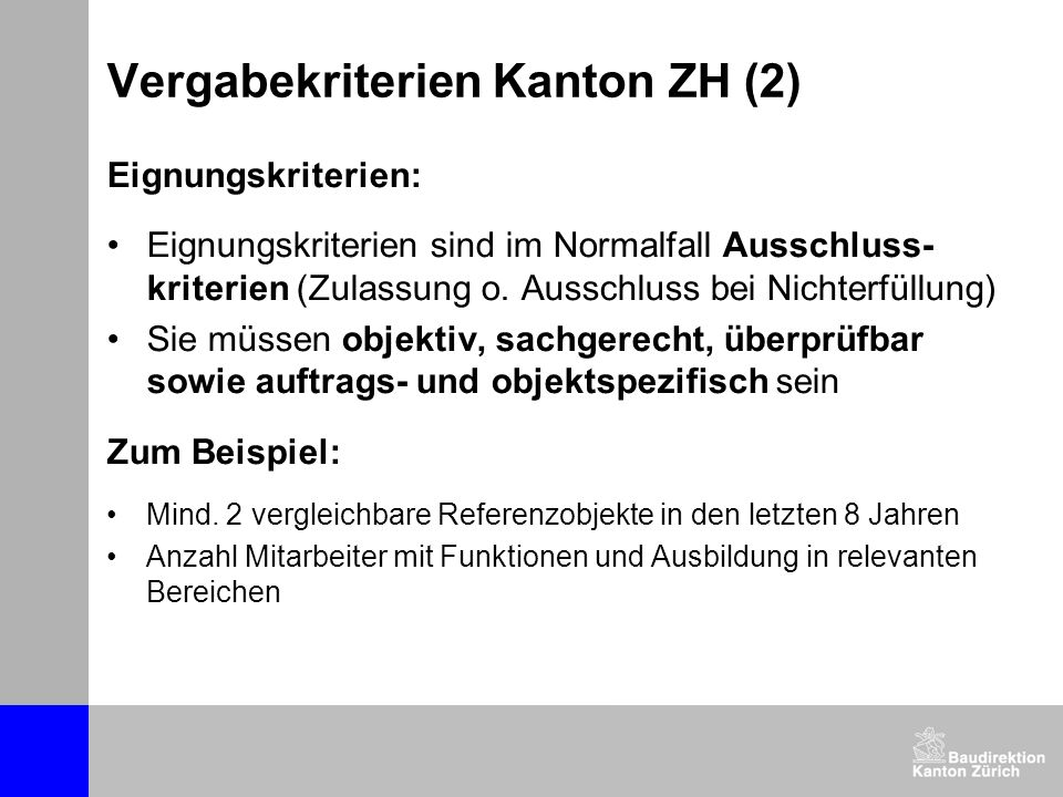 Vergabekriterien Kanton ZH (2)