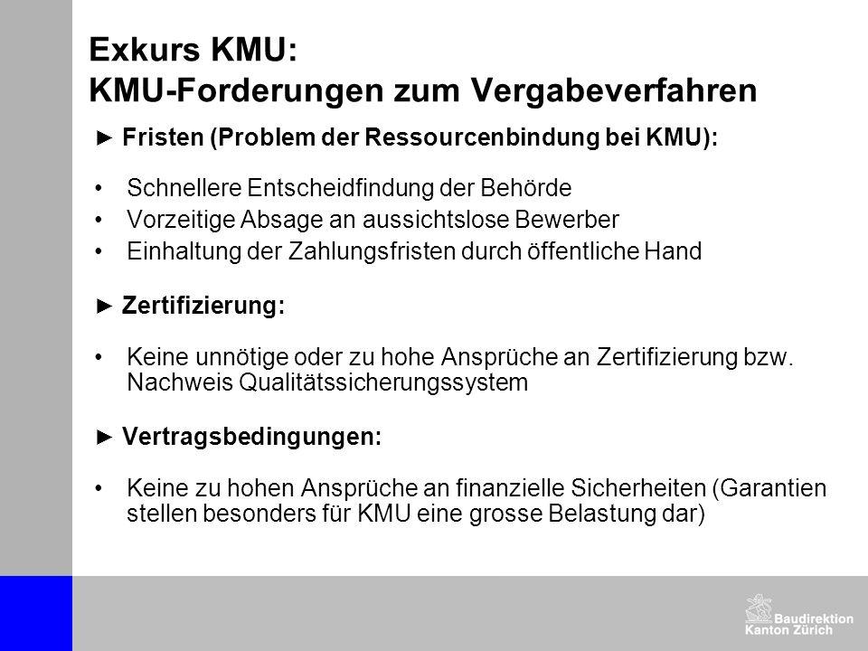 Exkurs KMU: KMU-Forderungen zum Vergabeverfahren