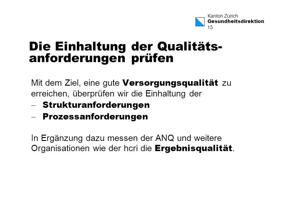 Die Einhaltung der Qualitäts-anforderungen prüfen