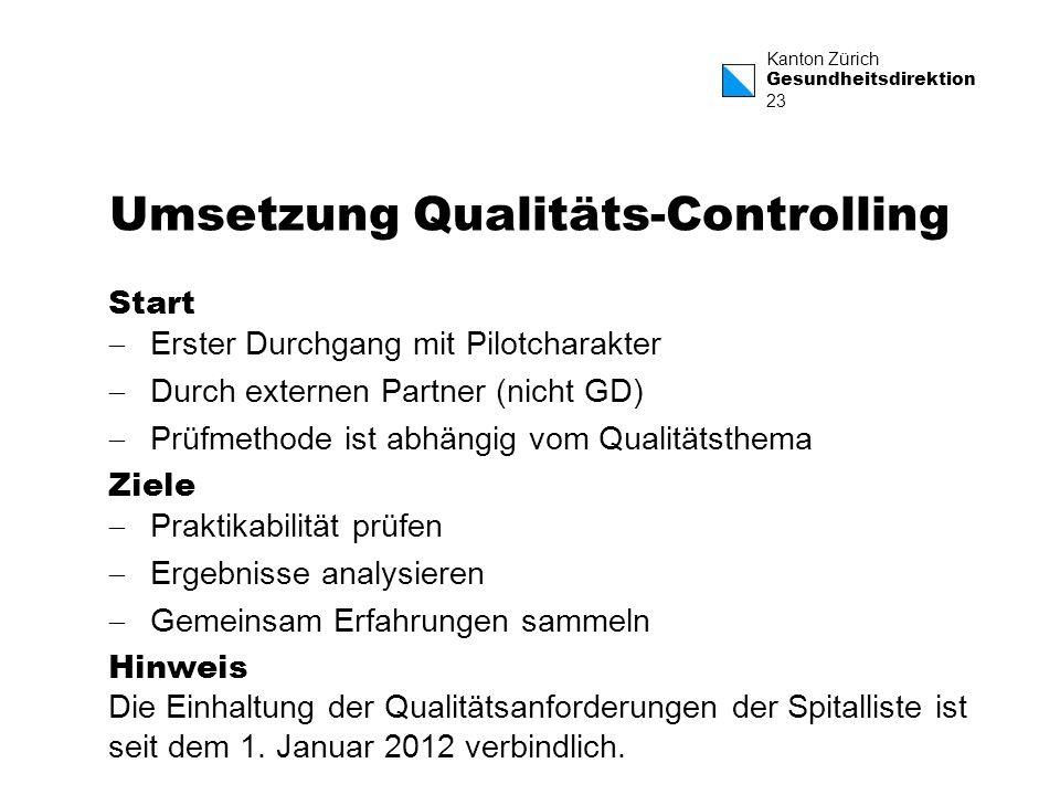 Umsetzung Qualitäts-Controlling