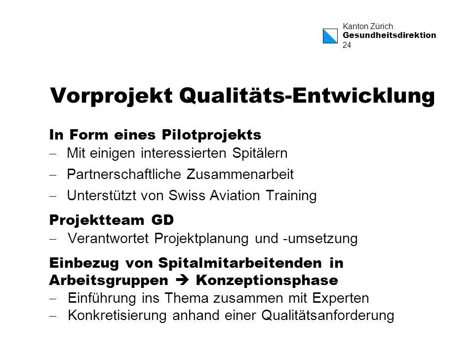 Vorprojekt Qualitäts-Entwicklung