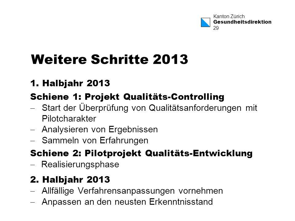 Weitere Schritte 2013 1. Halbjahr 2013