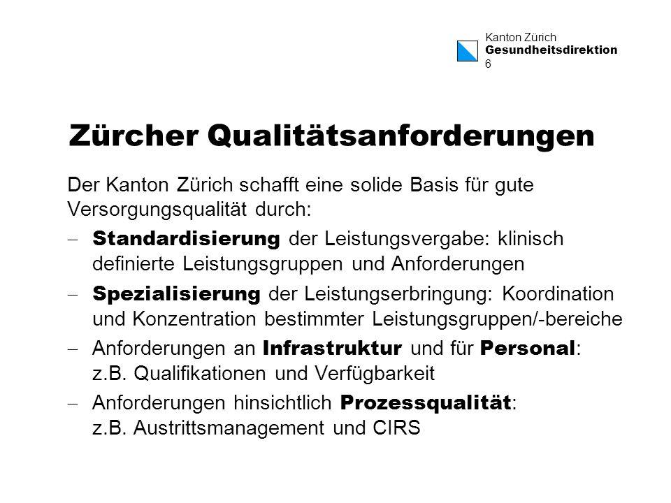 Zürcher Qualitätsanforderungen
