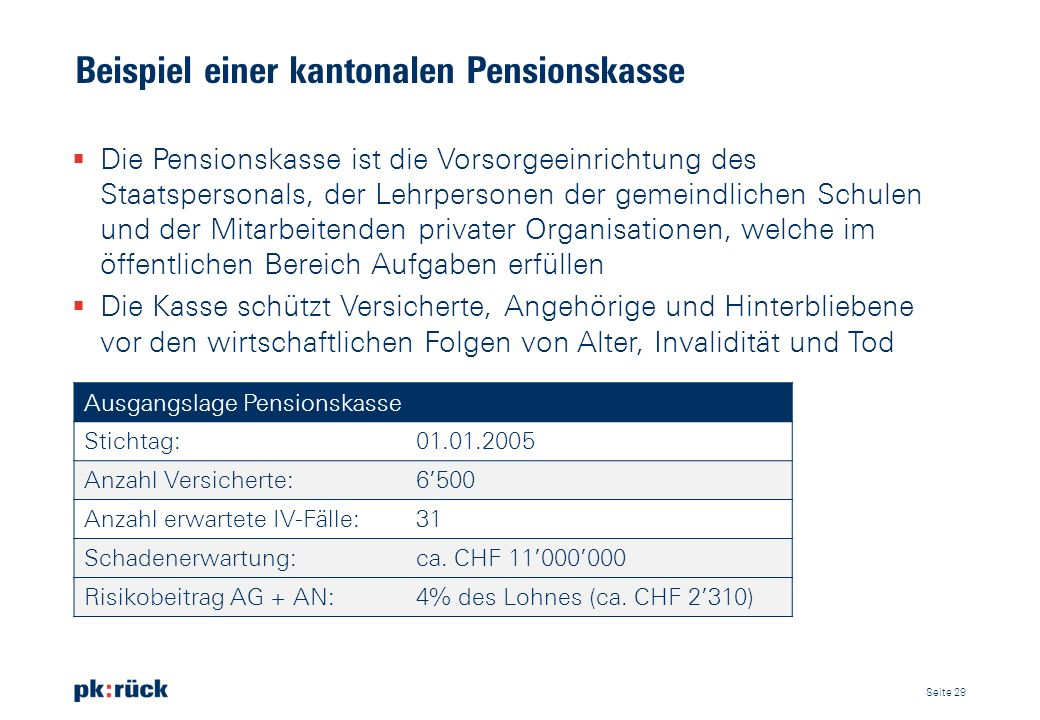 Beispiel einer kantonalen Pensionskasse