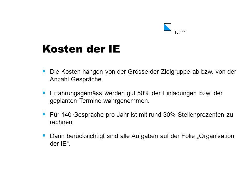 Kosten der IE Die Kosten hängen von der Grösse der Zielgruppe ab bzw. von der Anzahl Gespräche.
