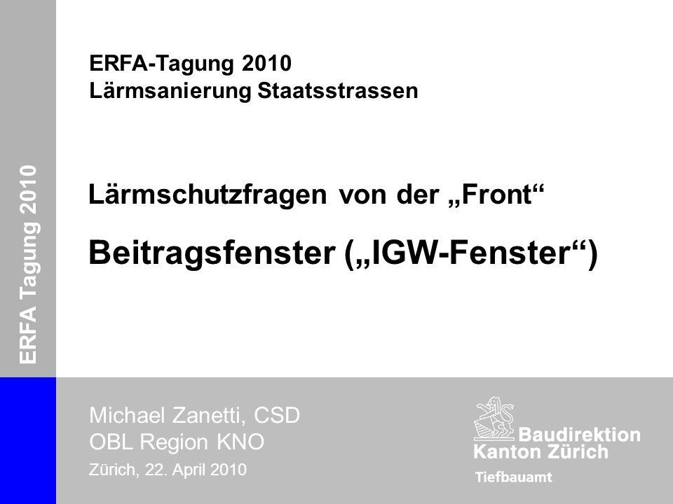 """Lärmschutzfragen von der """"Front Beitragsfenster (""""IGW-Fenster )"""