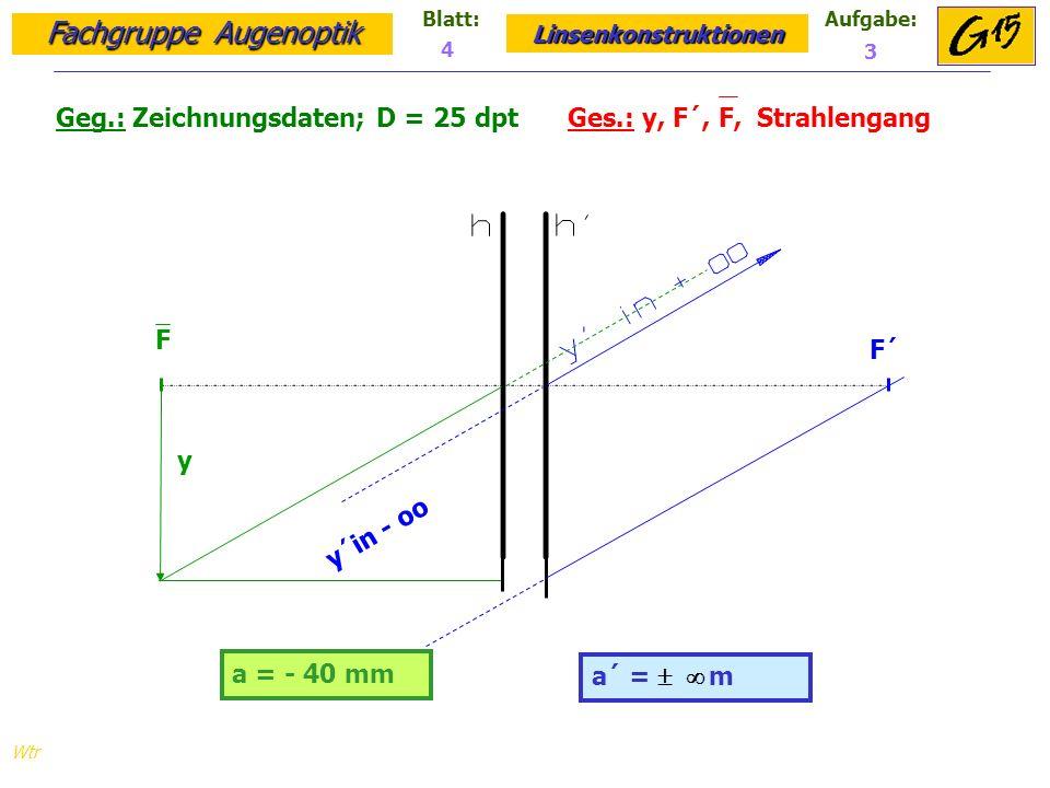 Geg.: Zeichnungsdaten; D = 25 dpt Ges.: y, F´, F, Strahlengang