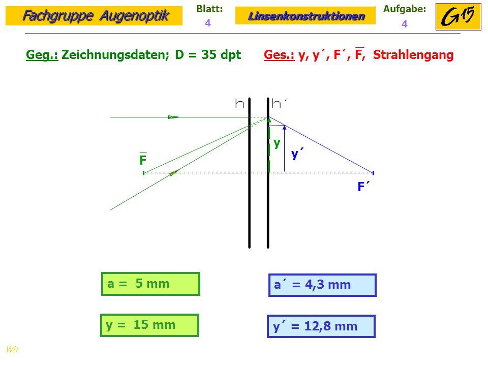 Geg.: Zeichnungsdaten; D = 35 dpt Ges.: y, y´, F´, F, Strahlengang