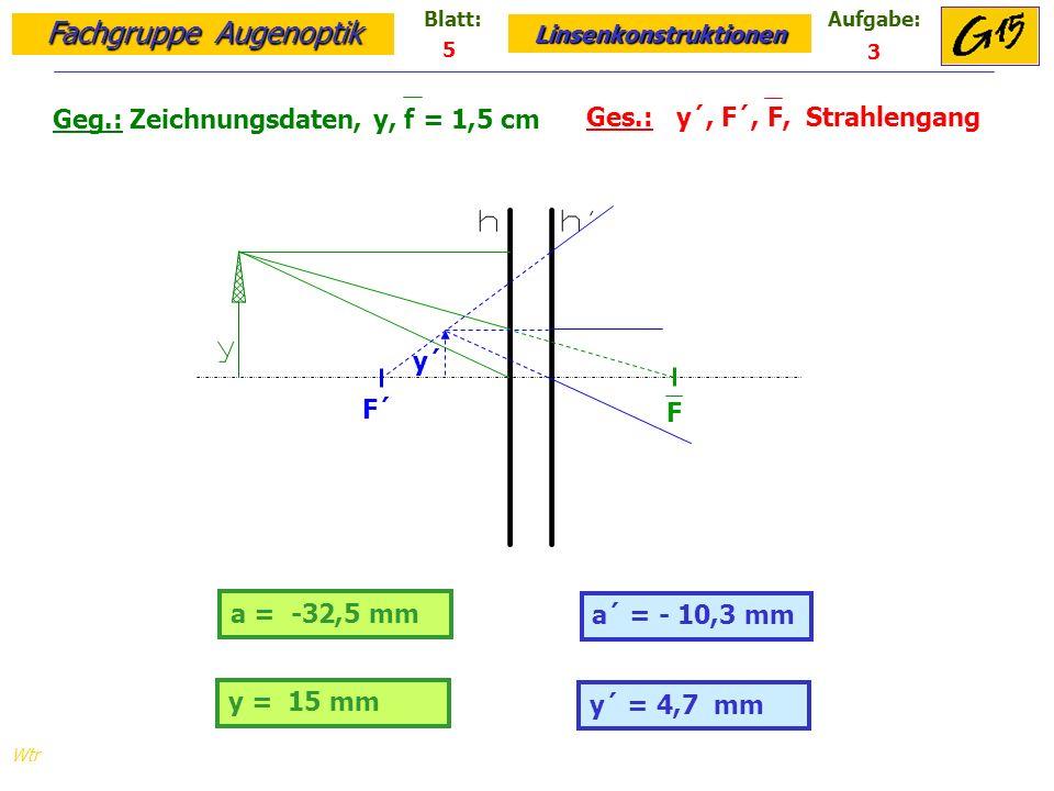 Geg.: Zeichnungsdaten, y, f = 1,5 cm Ges.: y´, F´, F, Strahlengang