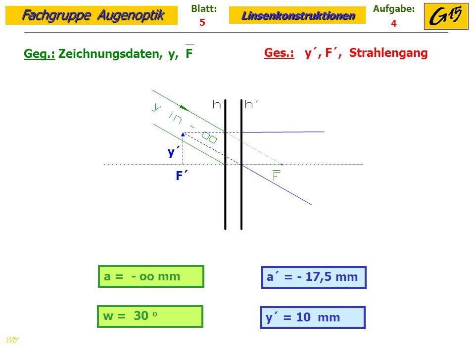 Geg.: Zeichnungsdaten, y, F Ges.: y´, F´, Strahlengang