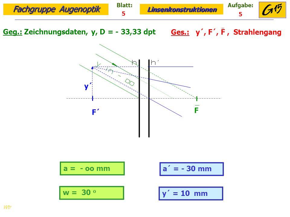 Geg.: Zeichnungsdaten, y, D = - 33,33 dpt