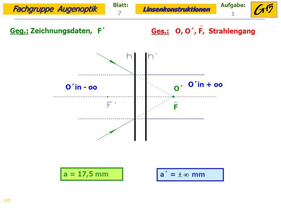 Geg.: Zeichnungsdaten, F´ Ges.: O, O´, F, Strahlengang