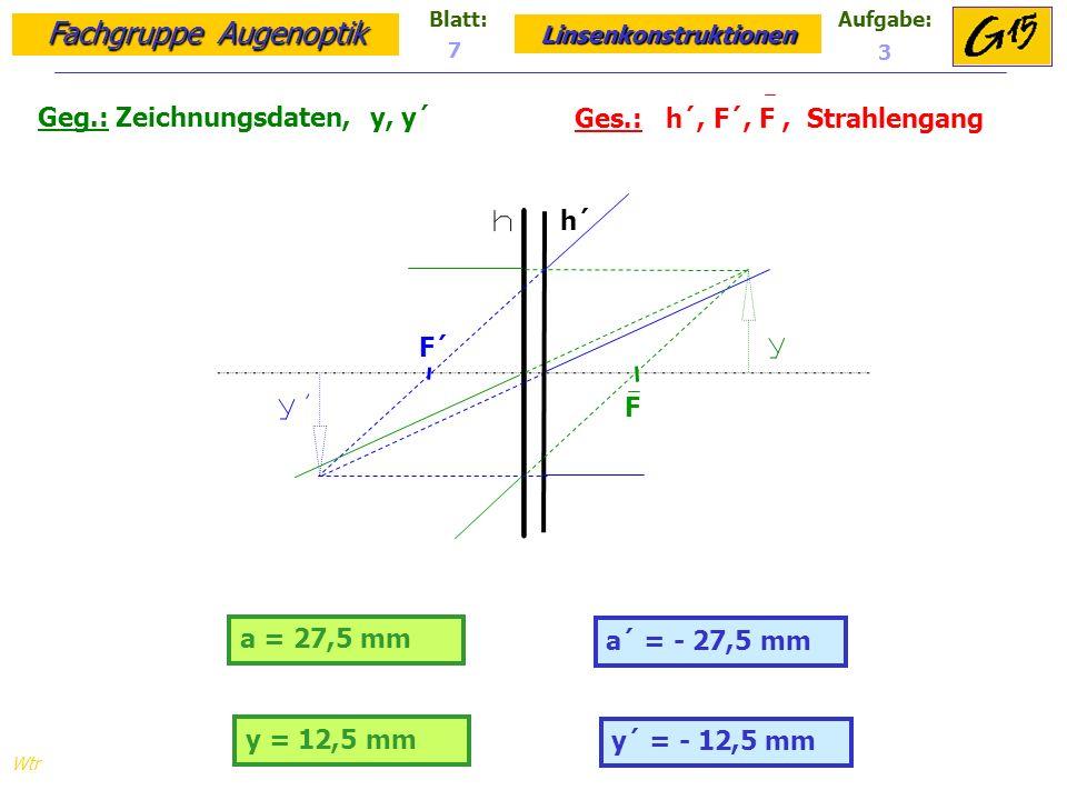 Geg.: Zeichnungsdaten, y, y´ Ges.: h´, F´, F , Strahlengang