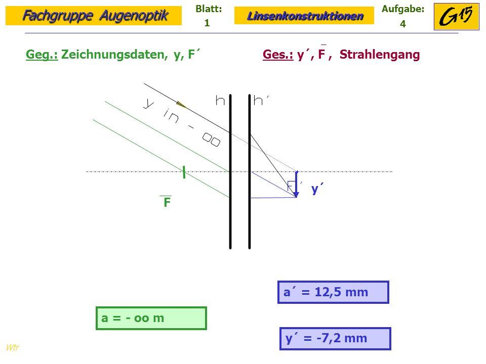 Geg.: Zeichnungsdaten, y, F´ Ges.: y´, F , Strahlengang