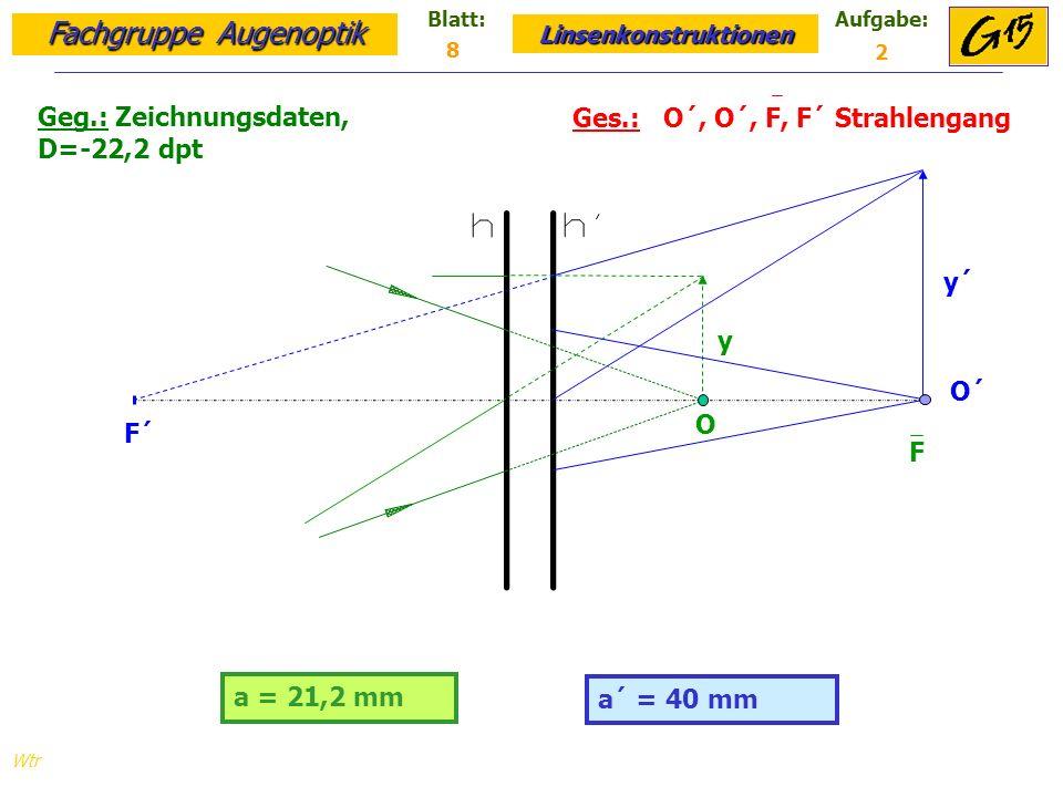Geg.: Zeichnungsdaten, D=-22,2 dpt Ges.: O´, O´, F, F´ Strahlengang