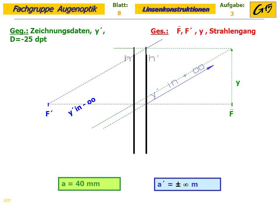 Geg.: Zeichnungsdaten, y´, D=-25 dpt Ges.: F, F´ , y , Strahlengang