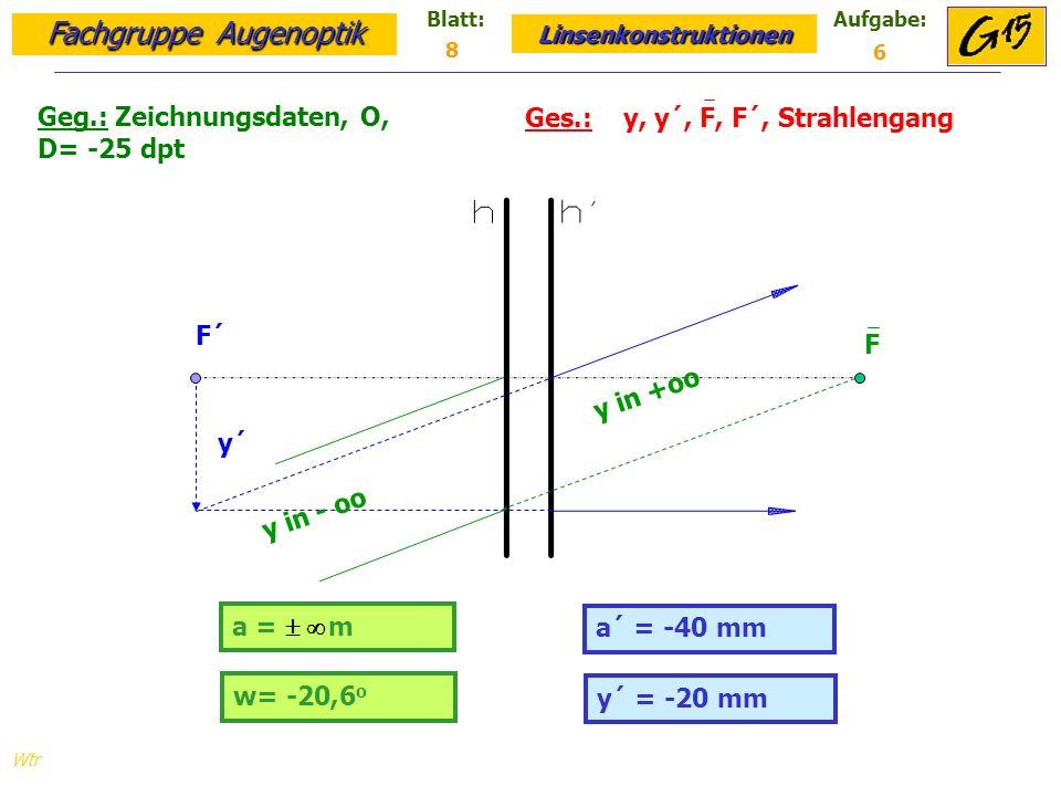 Geg.: Zeichnungsdaten, O, D= -25 dpt Ges.: y, y´, F, F´, Strahlengang