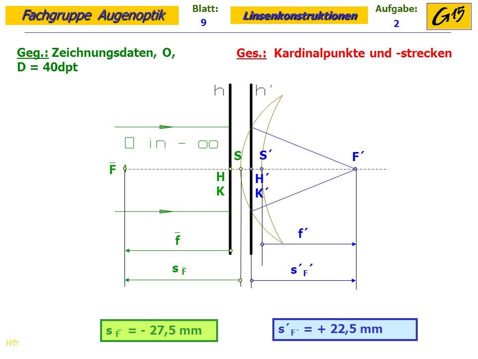 Geg.: Zeichnungsdaten, O, D = 40dpt Ges.: Kardinalpunkte und -strecken