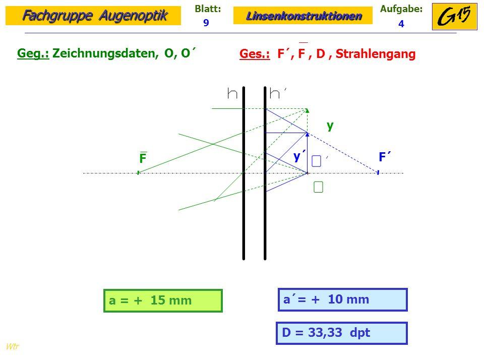 Geg.: Zeichnungsdaten, O, O´ Ges.: F´, F , D , Strahlengang
