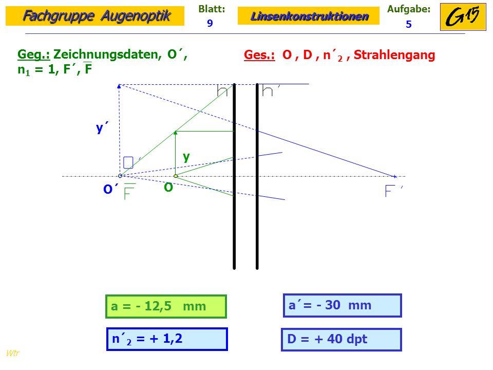 Geg.: Zeichnungsdaten, O´, n1 = 1, F´, F