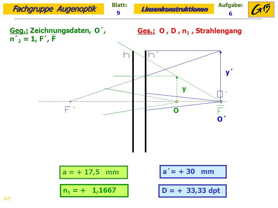 Geg.: Zeichnungsdaten, O´, n´2 = 1, F´, F