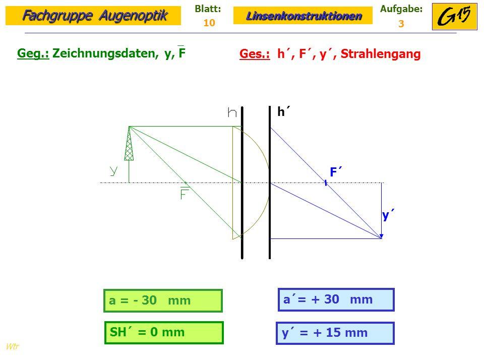 Geg.: Zeichnungsdaten, y, F Ges.: h´, F´, y´, Strahlengang