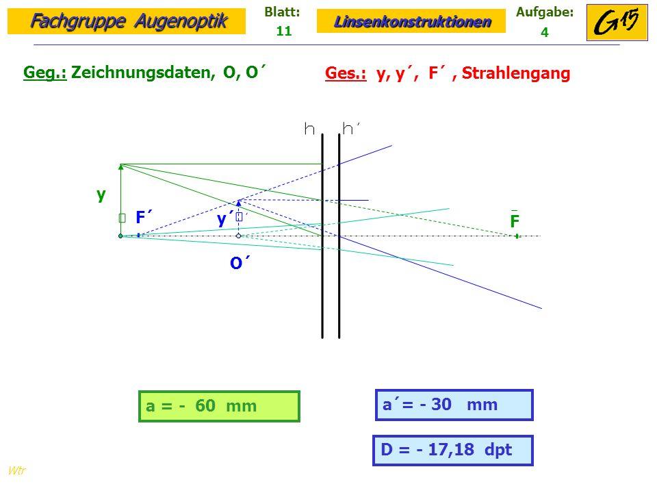 Geg.: Zeichnungsdaten, O, O´ Ges.: y, y´, F´ , Strahlengang