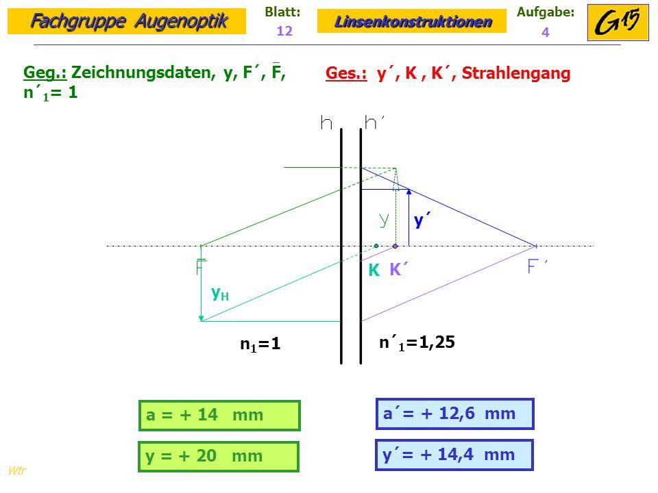 Geg.: Zeichnungsdaten, y, F´, F, n´1= 1 Ges.: y´, K , K´, Strahlengang