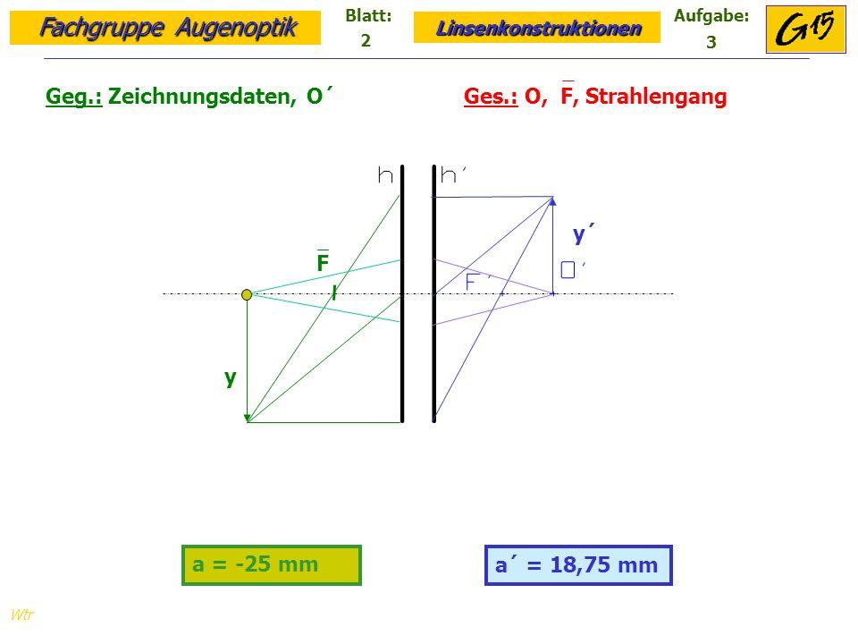 Geg.: Zeichnungsdaten, O´ Ges.: O, F, Strahlengang