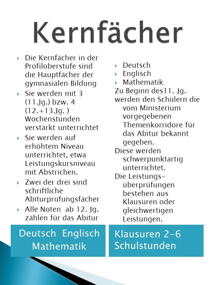 Kernfächer Deutsch Englisch Klausuren 2-6 Schulstunden Mathematik