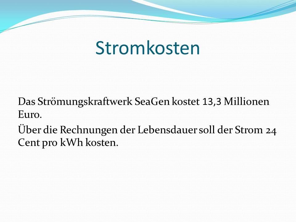 Stromkosten Das Strömungskraftwerk SeaGen kostet 13,3 Millionen Euro.