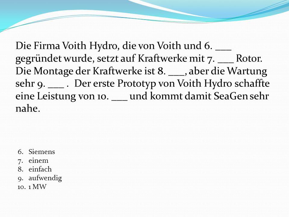 Die Firma Voith Hydro, die von Voith und 6